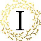 Monogramm-Buchstabe I | Personalisiert | Schwarz und Gold Design von PraiseQuotes