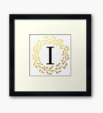 Monogram Letter I | Personalised | Black and Gold Design Framed Print