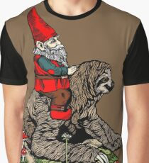 Gnome Riding a Sloth Graphic T-Shirt