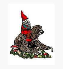 Gnome Riding a Sloth Photographic Print