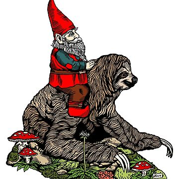 Gnome Riding a Sloth by ZugArt