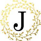 Monogramm-Buchstabe J | Personalisiert | Schwarz und Gold Design von PraiseQuotes