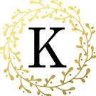 Monogramm-Buchstabe K | Personalisiert | Schwarz und Gold Design von PraiseQuotes