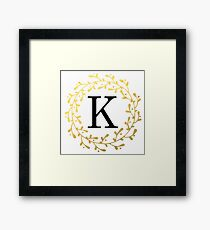Monogram Letter K | Personalised | Black and Gold Design Framed Print