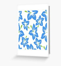 Decorative Blue Green Floral Pattern Greeting Card