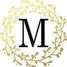 Monogramm-Buchstabe M | Personalisiert | Schwarz und Gold Design von PraiseQuotes