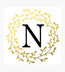 Monogram Letter N | Personalised | Black and Gold Design Photographic Print