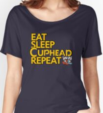 CUPHEAD TSHIRT / EAT SLEEP CUPHEAD REPEAT Women's Relaxed Fit T-Shirt