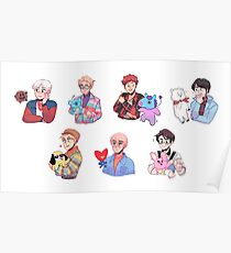 Póster BTS con sus amigos BT21 !!!