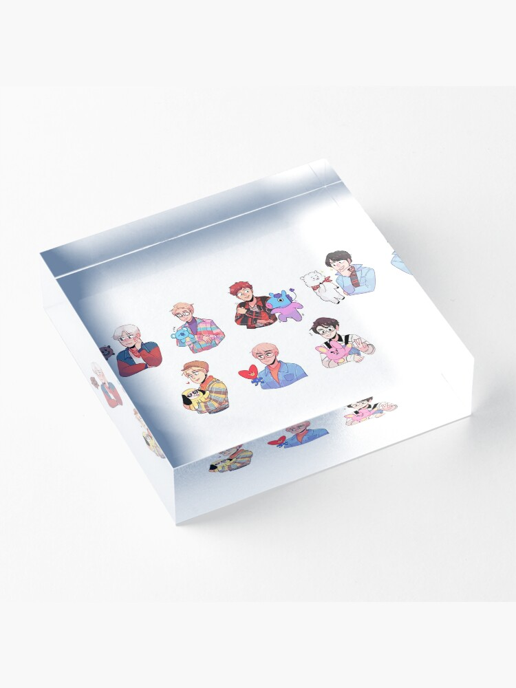 Alternate view of BTS with their BT21 friends!!! Acrylic Block