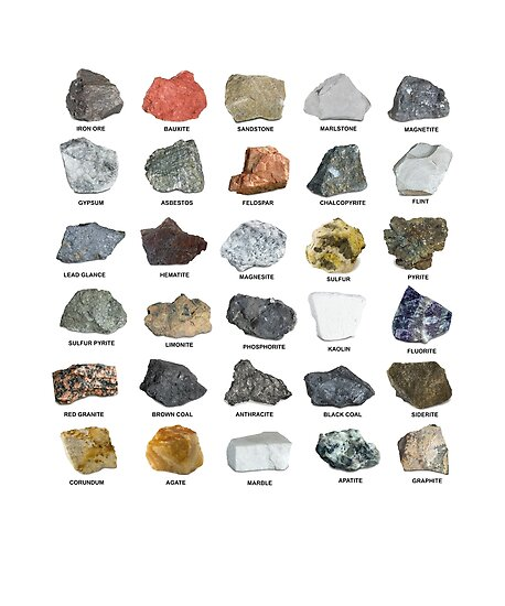 Edelsteine und Kristalle Ores und Mineralien Rock Collecting Chart von banwa