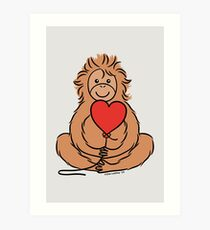 Lovable Orangutan Art Print