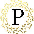 Monogramm-Buchstabe P | Personalisiert | Schwarz und Gold Design von PraiseQuotes