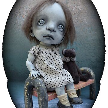 Gothic BJD Art Doll Little Girl with a Teddy Bear by darkalleydolls