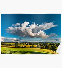 Big white cloud over the colorful valley, sunset time, Brittany, France Poster