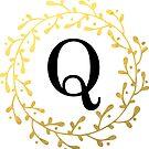 Monogrammbuchstabe Q | Personalisiert | Schwarz und Gold Design von PraiseQuotes