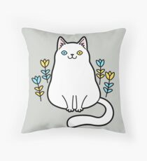 White Odd Eyed Cat with Flowers Floor Pillow