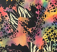 Swallowtail Butterflies on Rainbow Background by PrintsByJane