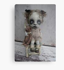 Creepy Little Girl with a Teddy Bear Gothic BJD Art Doll Metal Print