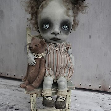 Creepy Little Girl with a Teddy Bear Gothic BJD Art Doll by darkalleydolls