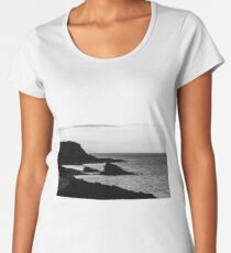 High contarst rocks view on seaside, evening in Brittany, France Women's Premium T-Shirt