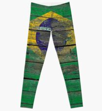 Flag of Brazil on Rough Wood Boards Effect Leggings