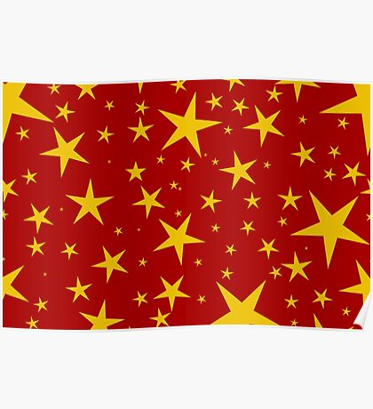 NDVH Stars (gold on red) Poster