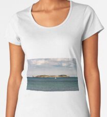 Beautiful stone island in the ocean and white yacht, Bretagne, France Women's Premium T-Shirt