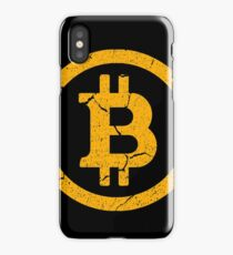 Vintage Bitcoin Logo with Distressed Retro Look Design iPhone Case/Skin
