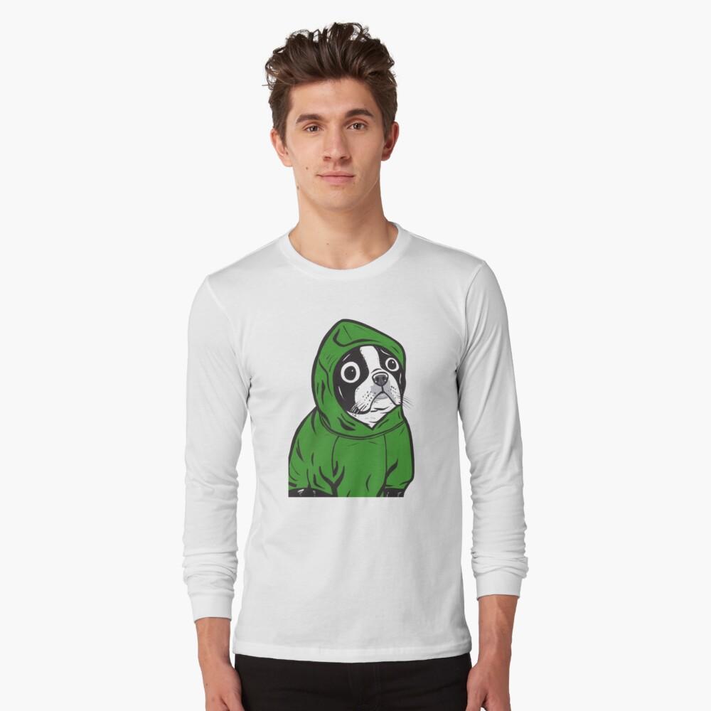 Boston Terrier Green Hoodie Long Sleeve T-Shirt