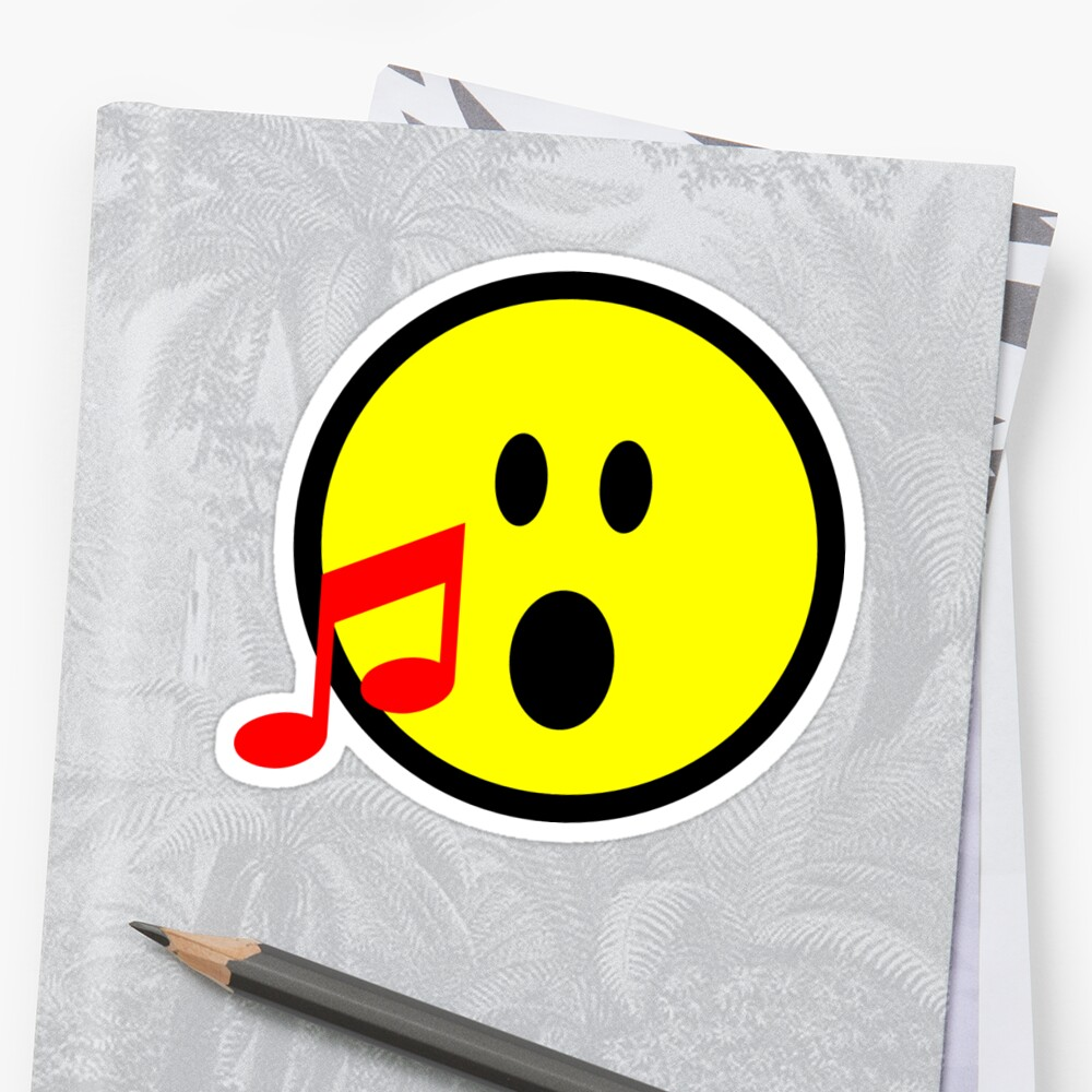 Yellow Singing Smilie Face Emoji with Red Musical Note\
