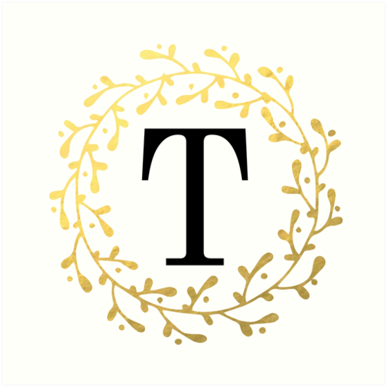Monogram Letter T | Personalised | Black and Gold Design