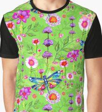 Tropical Dragonfly Flower Garden Graphic T-Shirt