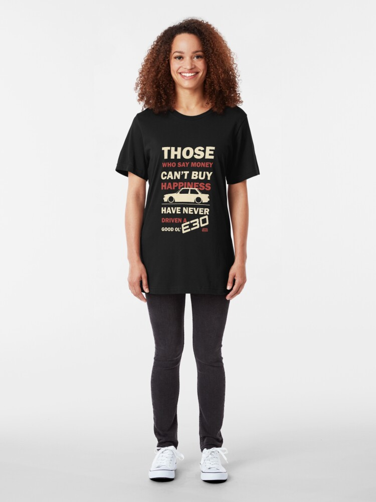 Alternate view of Happiness in a BMW E30 Slim Fit T-Shirt