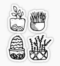 Four Potted Patterned Plants Sticker