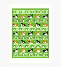 8-bit Corgi Christmas Sweater Art Print