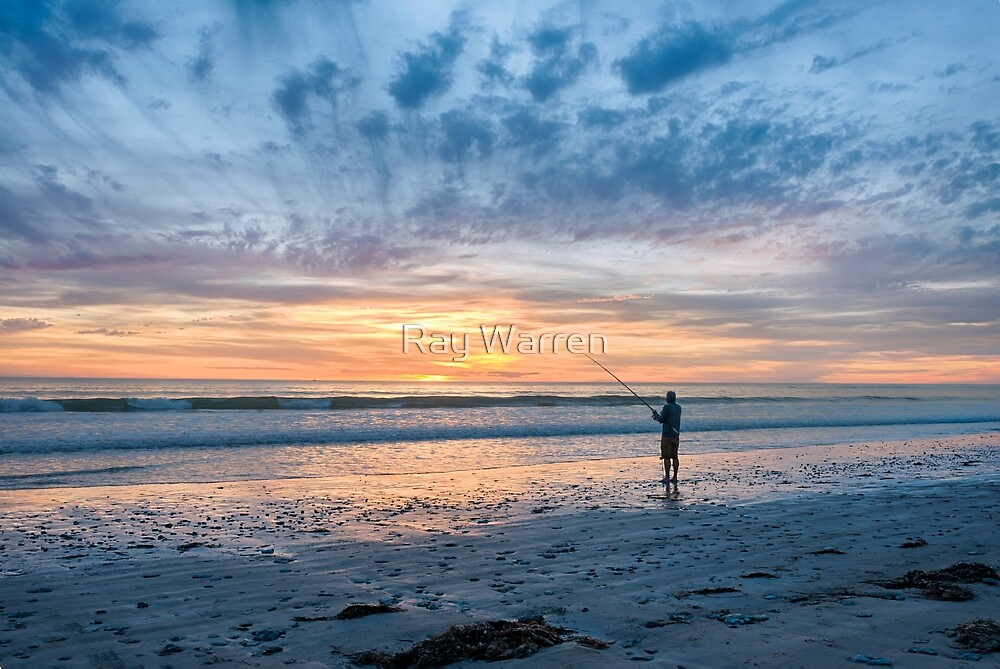 Sunset Beach Fishing by Ray Warren