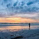 Sunset Beach Fishing by Ray Warren