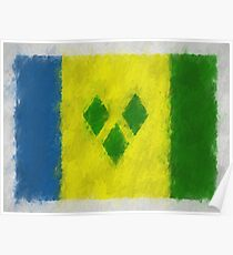 Saint Vincent And Grenadines Flag Reworked No. 66, Series 4 Poster