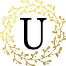 Monogramm-Buchstabe U | Personalisiert | Aquarell Design von PraiseQuotes