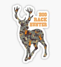 Big Rack Hunter with Buck - in Vintage Blue, Brown, and Orange Camo (Women & Bucks) Sticker