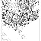 Singapore Map Minimal by HubertRoguski