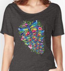 Jardín de flores de libélula tropical Camiseta ancha