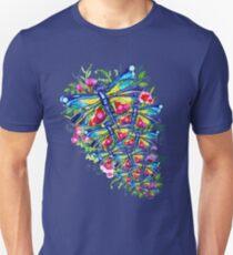 Tropical Dragonfly Flower Garden Unisex T-Shirt