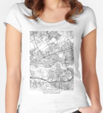 Rotterdam Map Minimal Women's Fitted Scoop T-Shirt