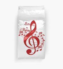 Funda nórdica Clave de sol roja con notas musicales que fluyen