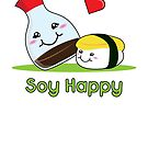 Soy Happy Sushi Kawaii Japanese Food Love Pun by Lindsay McCart