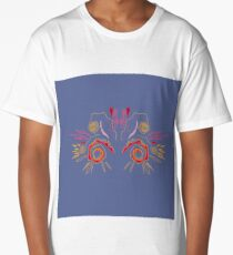 Henna wild  red on silver Long T-Shirt