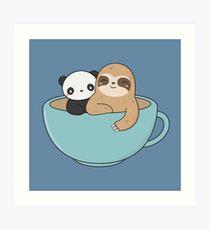 Kawaii Cute Sloth and Panda  Art Print