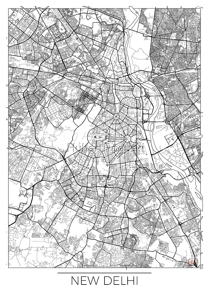 New Delhi Map Minimal